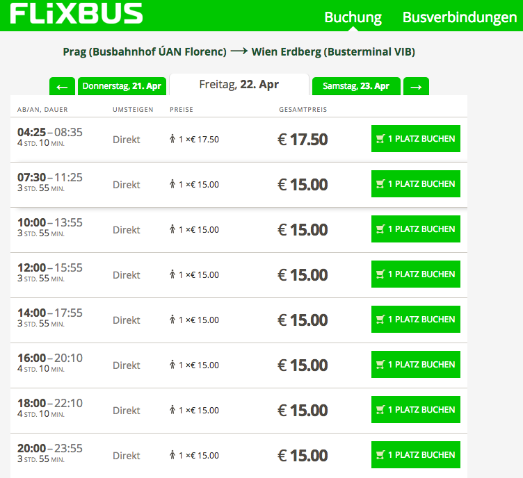 Bus connections from Prague - Vienna
