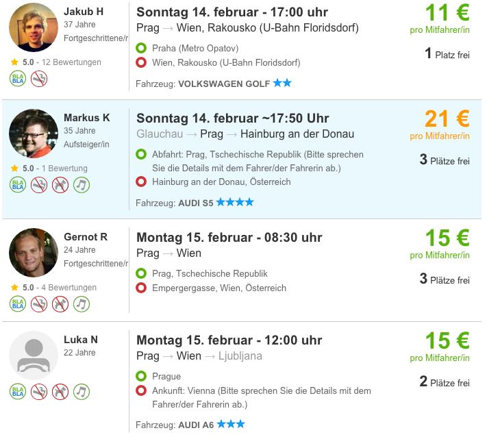 BlaBlaCar trips from Prague to Vienna